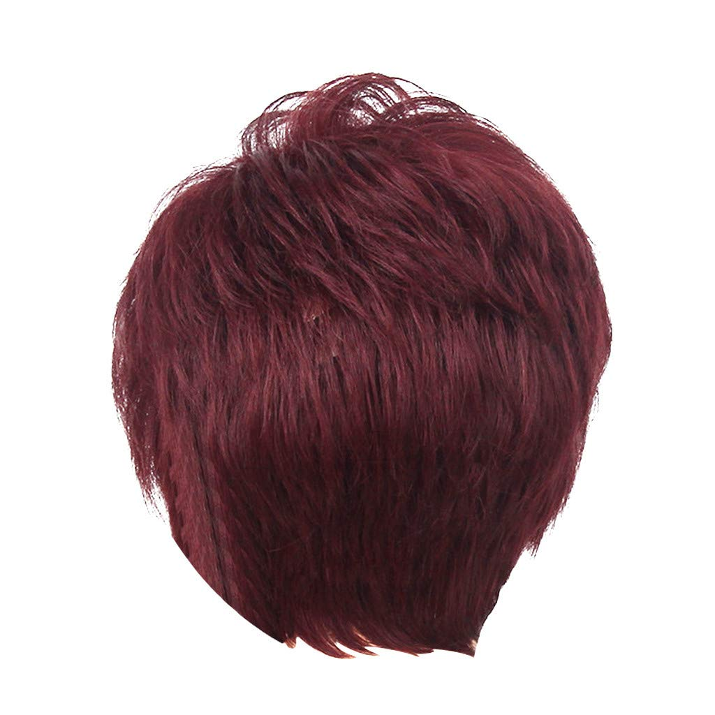 Wig,SUPPION Fashion Lady Women Casual Natural Short Red Wavy Wig Humen Hair Curly Synthetic Wigs - 8Inch - Cosplay/Party/Costume/Carnival/Masquerade (Red)