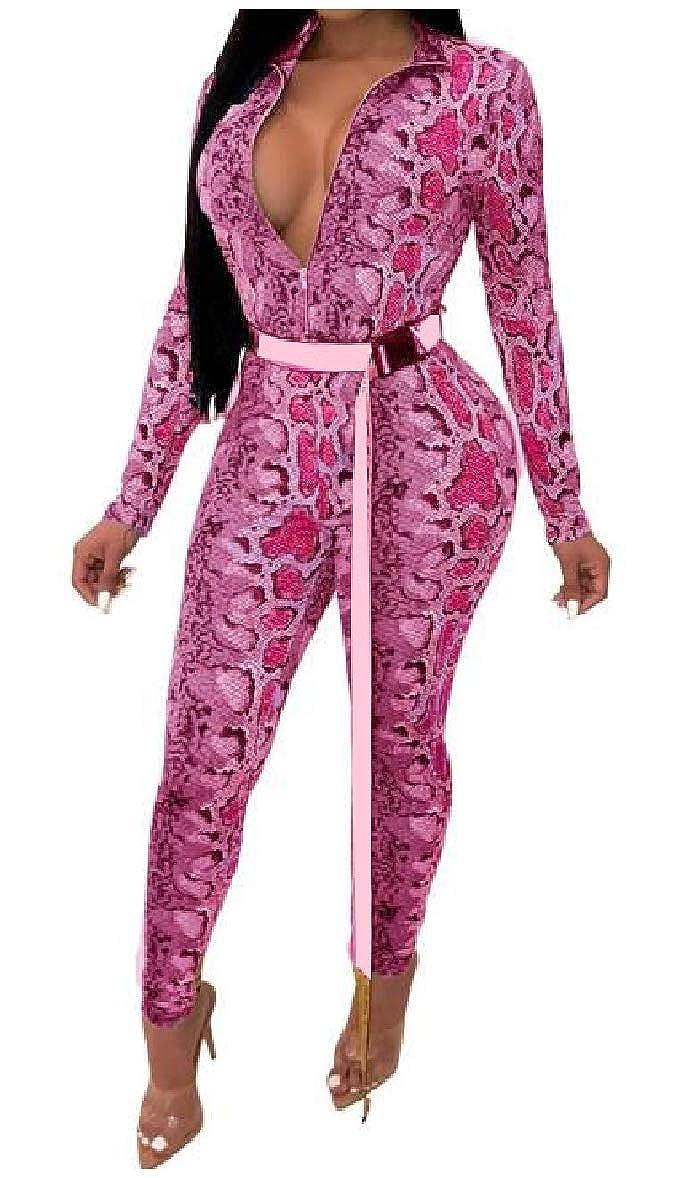 Zimaes-Women Zipper Silm Patterned V Neck Hi-Waist Long-Sleeve Playsuit