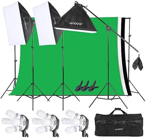 Todo para el streamer: Andoer Iluminación Fotográfica Softbox Kit, Sistema de Montaje de Estudio Fotográfico, Retratos y Video, con Sistema de Soporte de 2 * 3 Metros para Fondos en Movimiento con Bolsa de Transporte