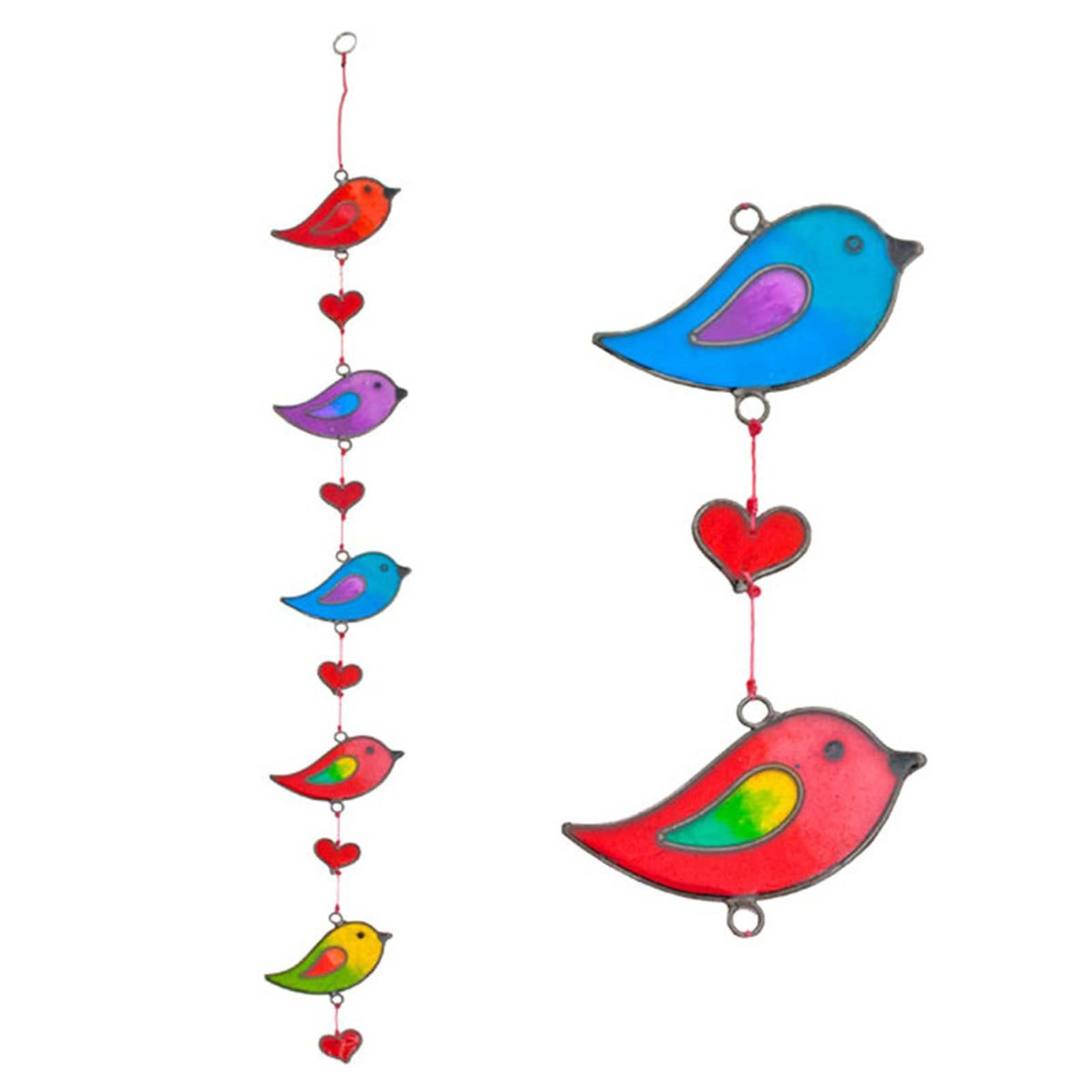 Suncatchers Colorful Bird Stained Glass Effect Resin Mobile - Beautiful Window Hanging - Home Decoration