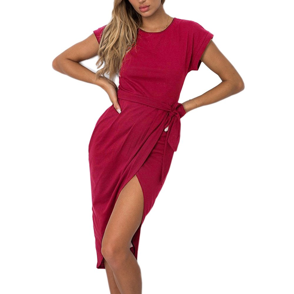 01 wine Red pinklux Women's Casual Short Sleeve Front Slit Summer MidCalf Dress Sexy Solid Party Dress with Belt