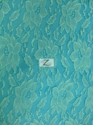 """Aqua 60/"""" WIDTH SOLD BY THE YARD FLORAL STRETCH LACE FABRIC"""