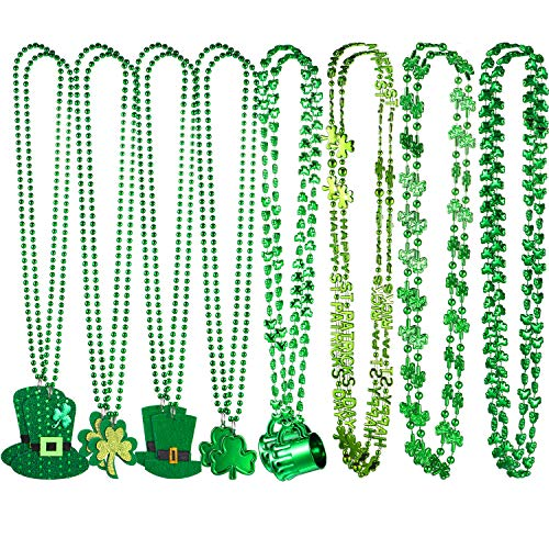 Chuangdi 16 Pieces St Patrick's Day Necklaces Clover Shamrock Green Party Hat Beaded Pendant Necklace in 8 Styles for Party Costume Accessory ()