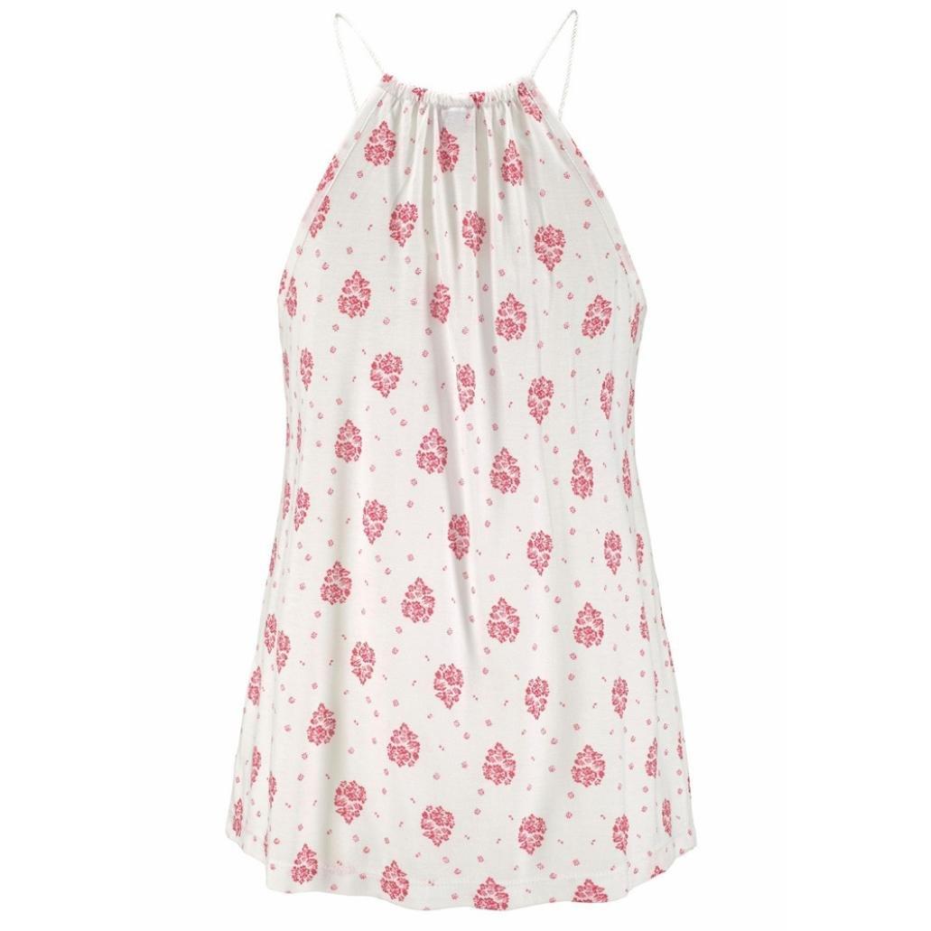Familizo Ladies Print Sleeveless Vest Tank Tops T-Shirt Summer Blouse