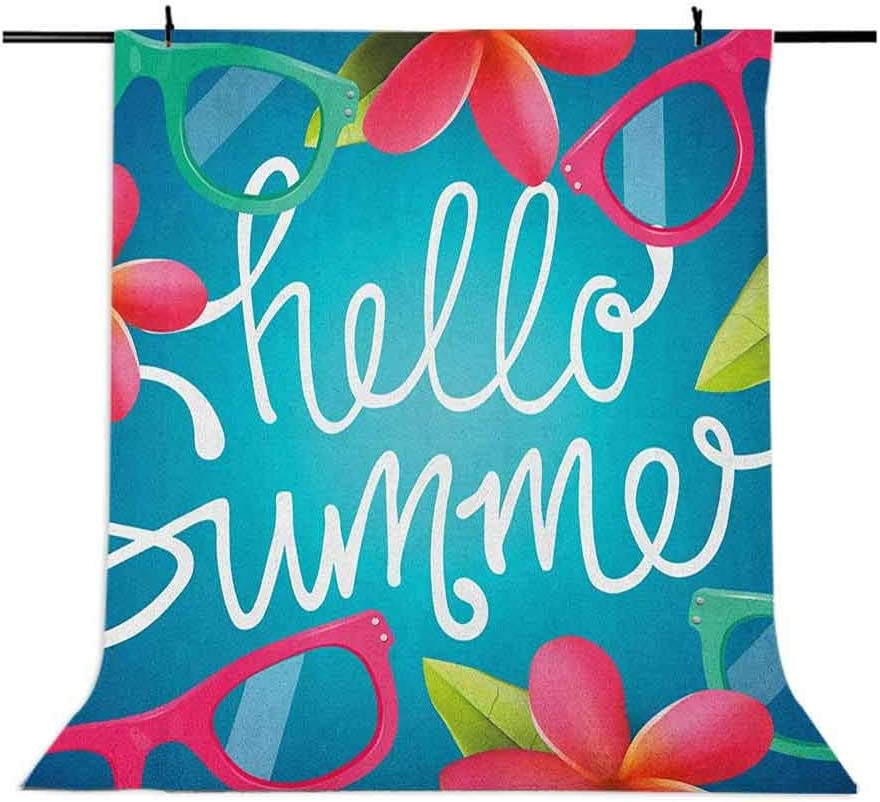 8x12 FT Hello Summer Vinyl Photography Backdrop,Funky Illustration of Summer Images Colorful Sunglasses and Frangipani Buds Background for Photo Backdrop Baby Newborn Photo Studio Props