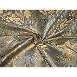 TheFabricFactory BRO577 - Tela de brocado de seda, color azul y dorado metálico (44