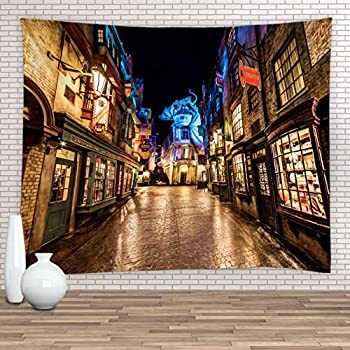 Feierman Diagon Alley Tapestry for Magic Night Street Wall Hanging Tapestry Decor 100% Polyester Kids Bedroom Decor
