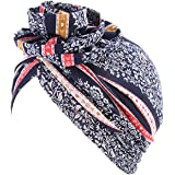 Babyku Flower Women Turban,Cotton Elastic Floral Headwear Chemo Beanie Scarves Coverings Hair Loss Wrap Cap
