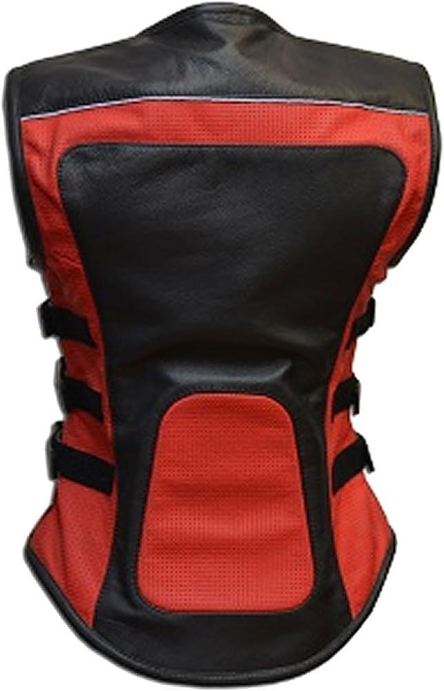 Sleekhides Womens Fashion Red /& Black Biker Leather Vest Faux 3X-Large