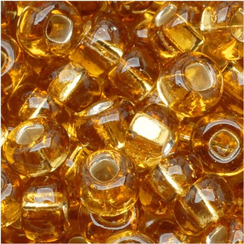 Jablonex Czech Seed Beads 6/0 Amber Light Topaz Silver Lined (1 Ounce)