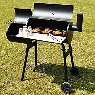 Giantex BBQ Grill Charcoal Barbecue Grill Outdoor Pit Patio Backyard Home Meat Cooker Smoker with Offset Smoker
