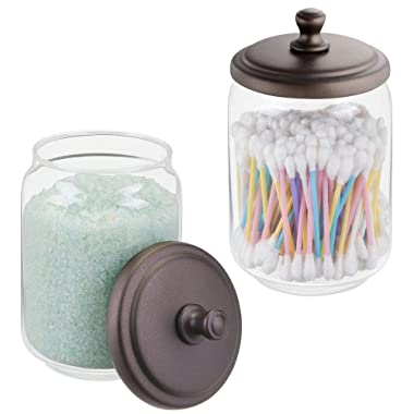mDesign Modern Glass Bathroom Vanity Countertop Storage Organizer Canister Apothecary Jar for Cotton Swabs, Rounds, Balls, Makeup Sponges, Bath Salts - 2 Pack - Clear/Bronze