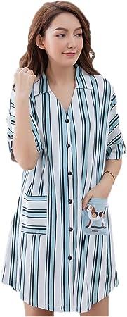 LCT Camisa de Noche de algodón para Mujer, Camisa de Noche con Cuello en V, Camisa de Manga Corta, Camisa de Noche, Camisa de Noche L: Amazon.es: Hogar