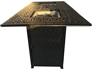 Outdoor Fire Pit Bar Height Double Burner Table Elisabeth Cast Aluminum Patio Furniture