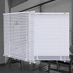 "SEEYE Horizontal Venetian Slat Light Filtering Mini Window Blinds Cellular Shade Anti-UV Aluminum Easy to Install 34"" W x 64"" L,White"