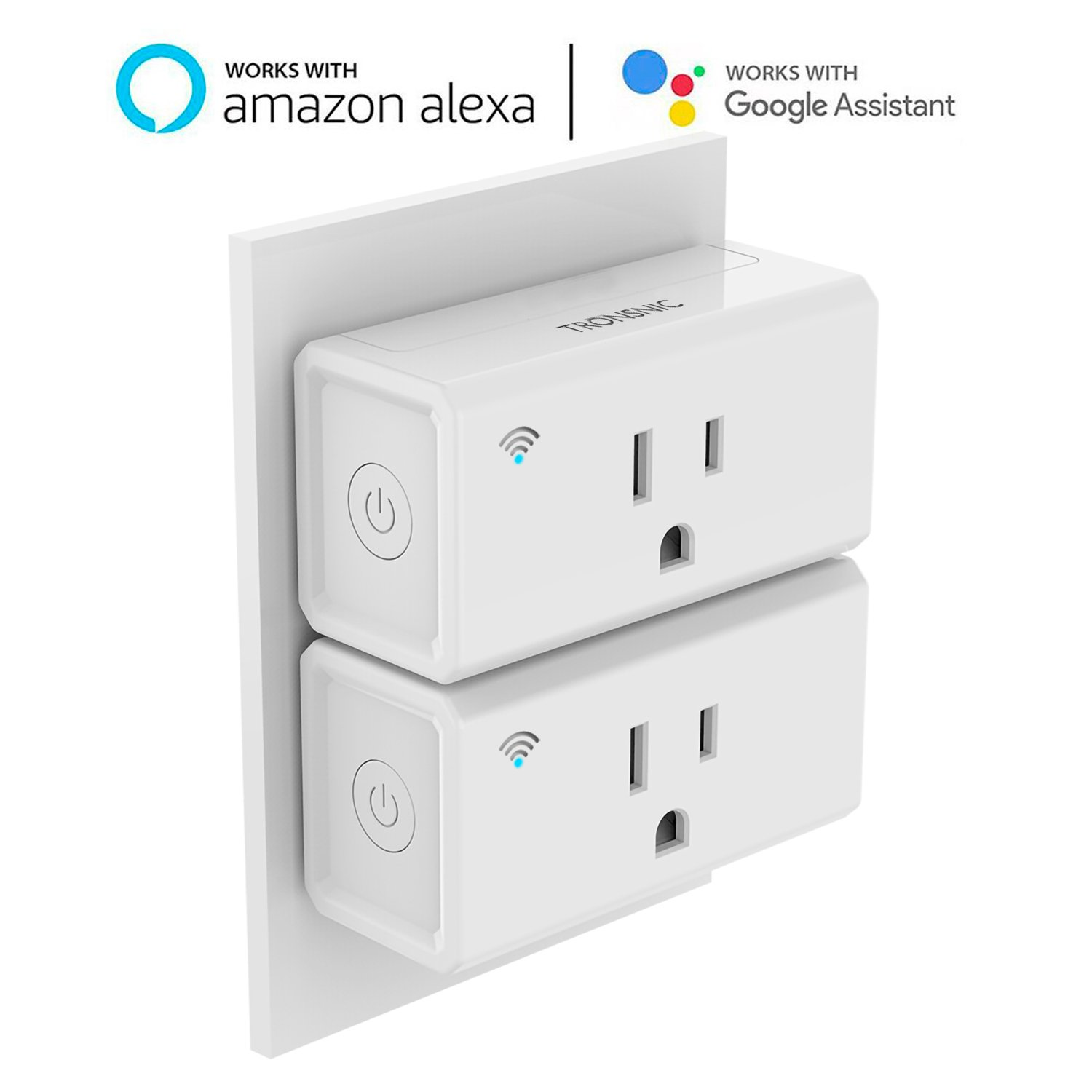 Mini smart plug, 2 Pack Wi-Fi Control Compatible with Amazon Alexa and Google Assistant, Tronsnic Plug in Adapter Wireless Home Power Timer No Hub Required Occupies Only 1 Socket