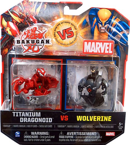 Bakugan vs. Marvel 2Pack Red Titanium Dragonoid vs Black Wol