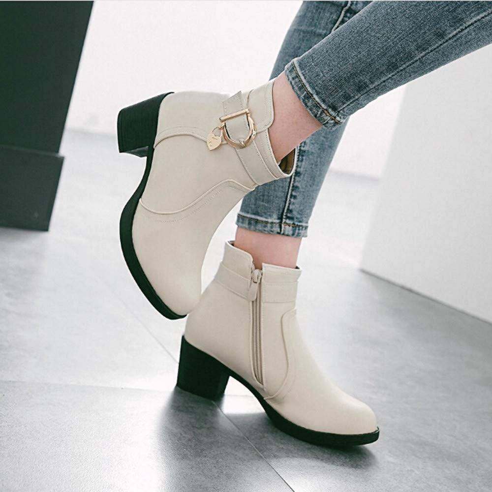 Sunmoot Women Faux Leather Bruckle Strap Chunky Square High Heel Ankle Boots