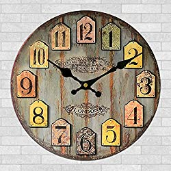 Yanoen Vintage Rustic London Old Town Style 30cm Shabby Chic Vintage Wall Clock