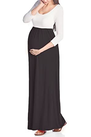 914bc783e56 Beachcoco Women s Maternity 3 4 Sleeve Contrast Maxi Dress Made in USA at Amazon  Women s Clothing store
