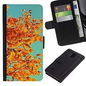 Paccase / Billetera de Cuero Caso del tirón Titular de la tarjeta Carcasa Funda para - Vignette Leaves Golden Brown Teal - Samsung Galaxy Note 4 SM-N910