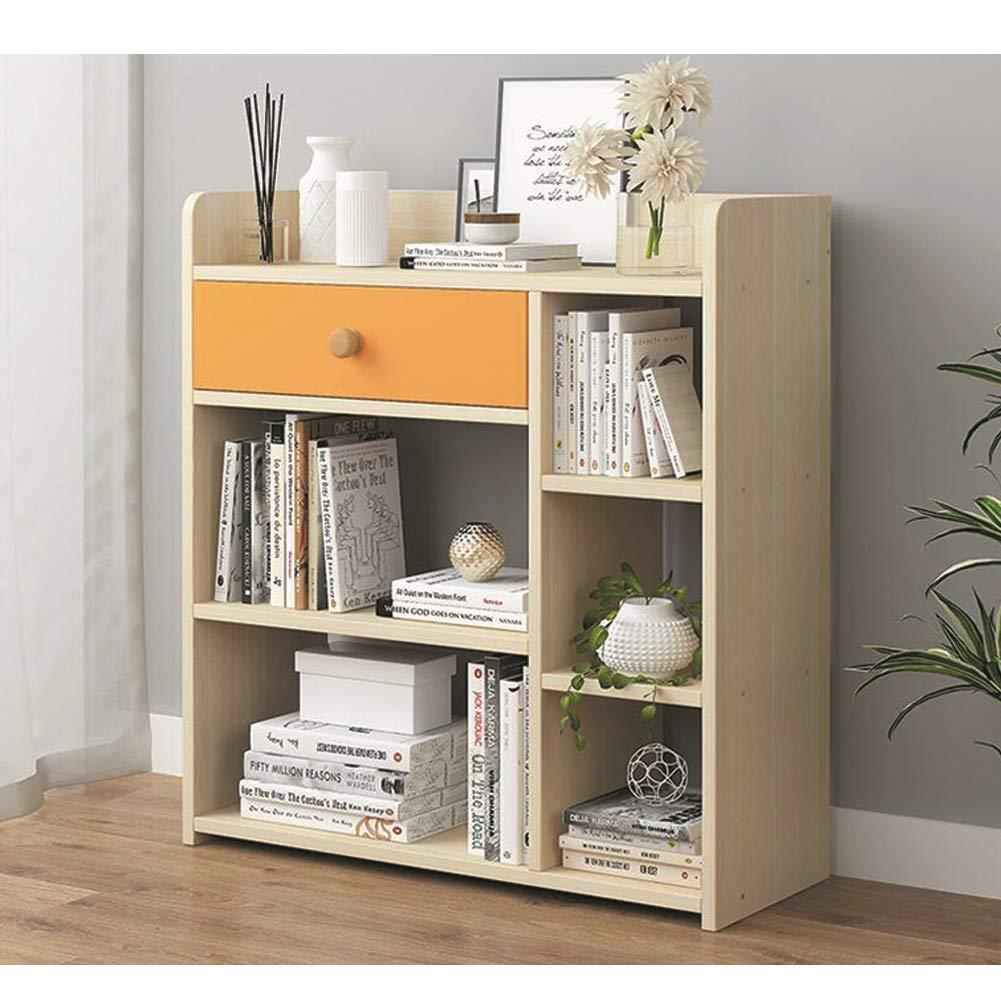 XUERUI オープンシェルフラック 棚収納棚書棚木材本棚シンプルで引き出し収納ユニットディスプレイ用キッチンリビングルーム 多機能 (Color : Wood color) B07TGDMMPH Wood color