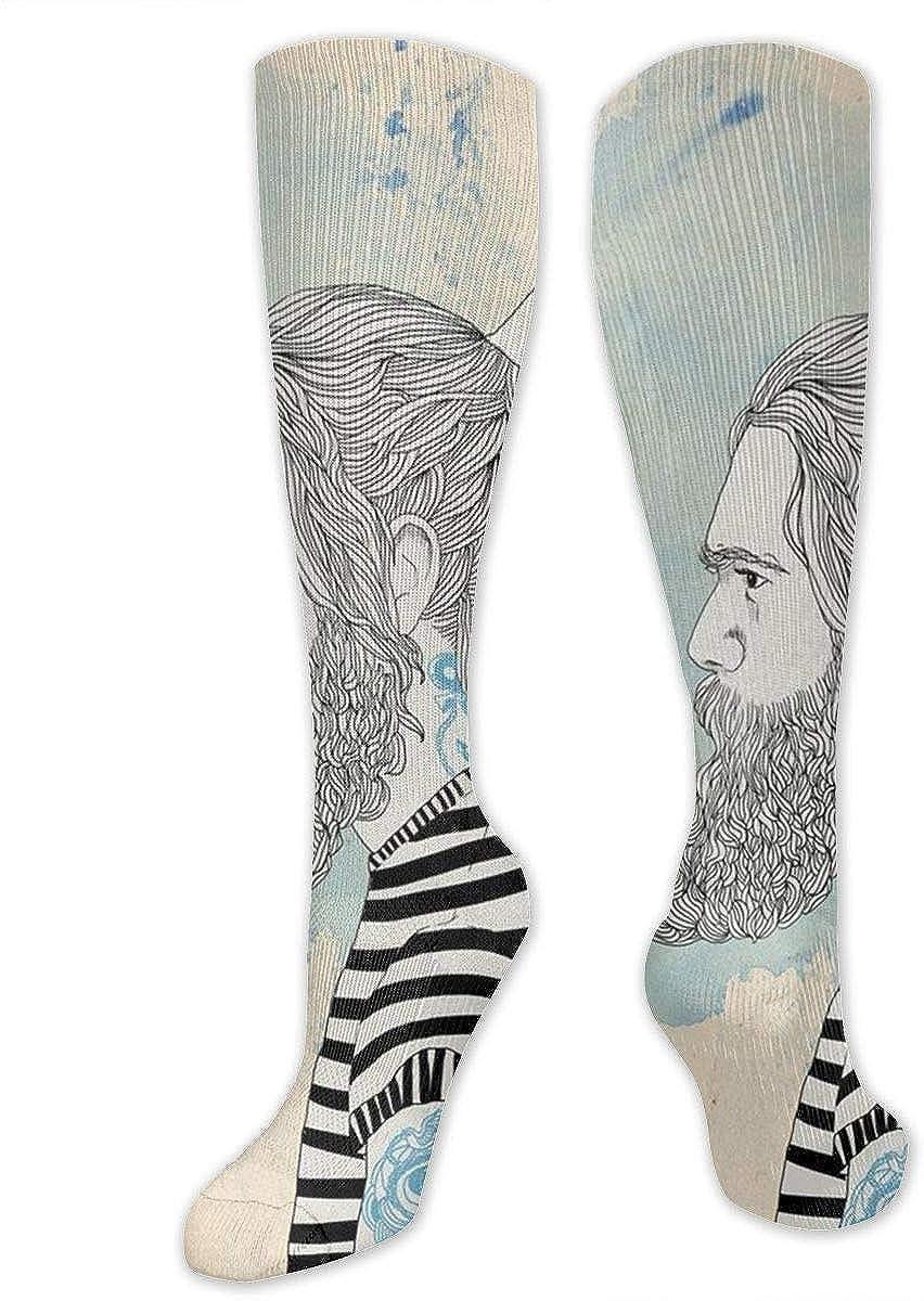 Calcetines hasta la rodilla Hombre Bigote con faro Tatuaje Medias ...