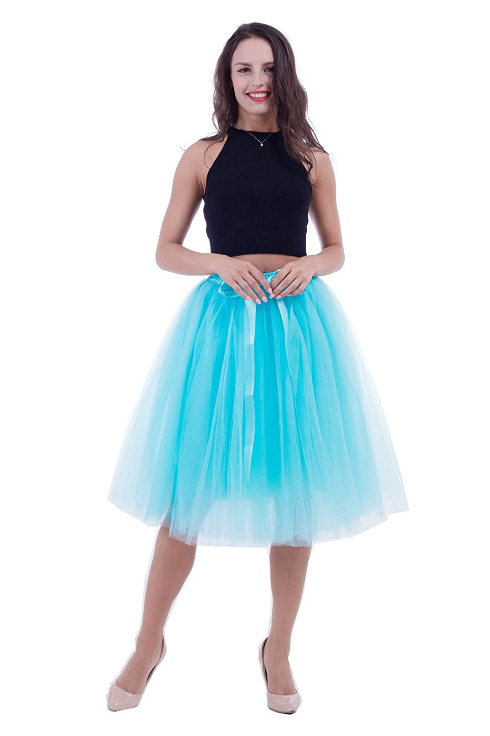 kephy Women's Adult 7 Layered Pleated Tulle Tutu Skirt A Line Knee Length Petticoat Prom Party Skirt QM002-Beige