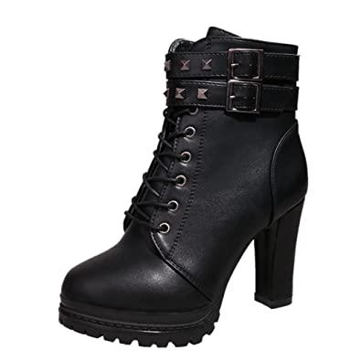 351509a849e OverDose Bottines à Talons Avec Deux Boucles Femme Sexy Bottes Lacets Hiver  Cuir Talons Hauts Chaussures