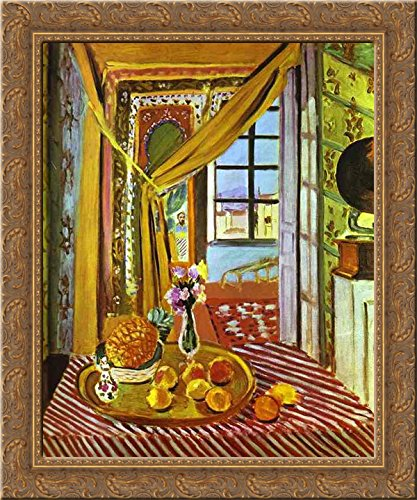 Henri Matisse Art Canvas - Interior with Phonograph 20x24 Gold Ornate Wood Framed Canvas Art by Matisse, Henri