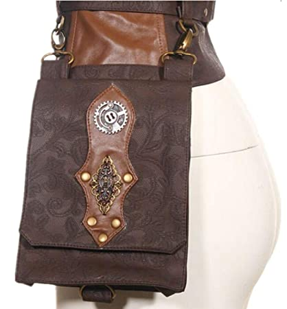 a3edb15c0afb Amazon.com : wen hui Women's Steampunk Gear Leather Belt Leg Ring ...