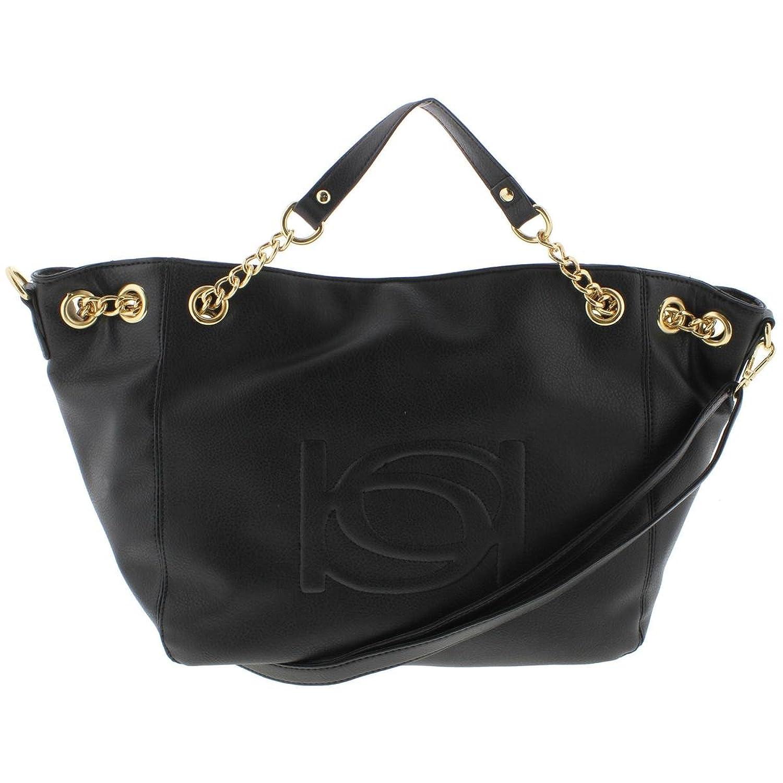 Bebe Womens Lara Faux Leather Embossed Shopper Handbag Black Large Tote Bag Mc Handbags