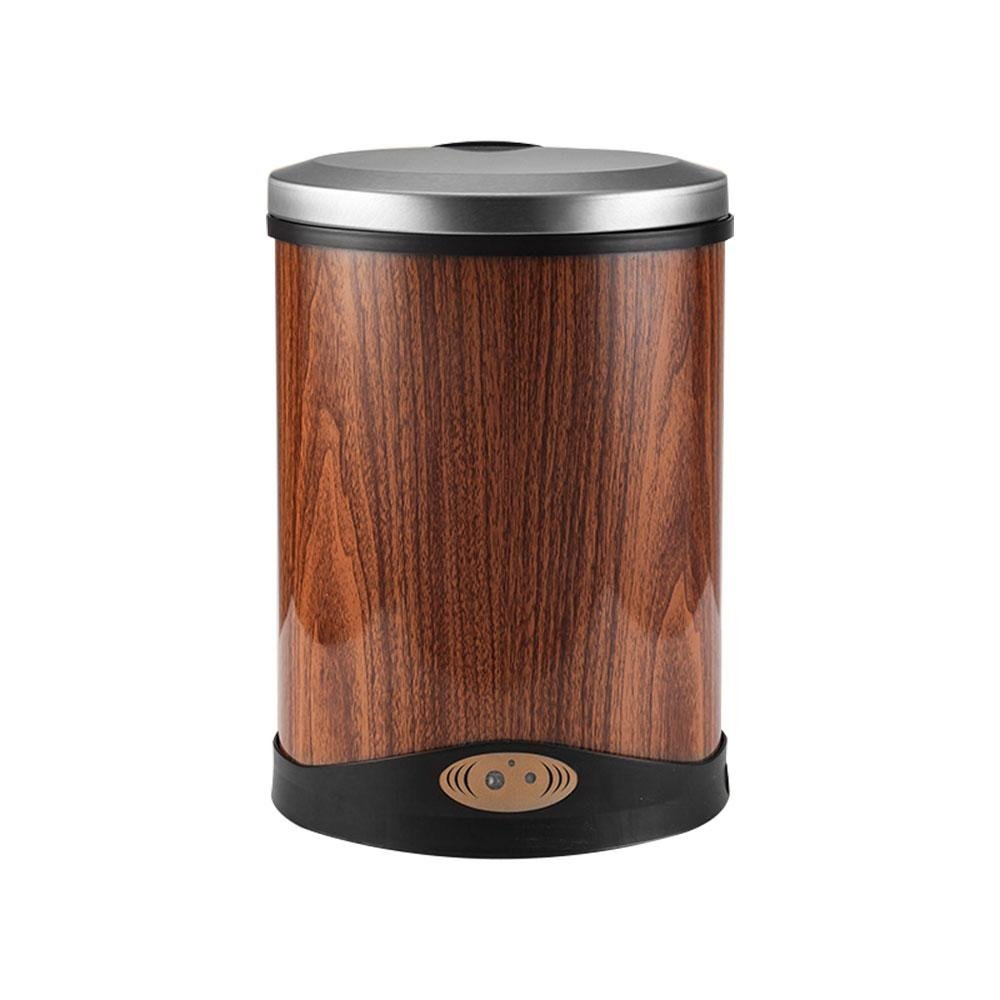 Aolvo Automatic Trash Can, Infrared Activated Touchless Motion Sensor Round Litter Can Recycler with Odor Control System, Non-Contact Garbage Bin for Kitchen Bathroom Office Outdoor - Wood Color 8L