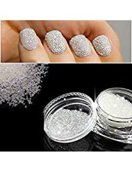 QIMYAR Nail Art Micro Rhinestone AB Crystal Glass Mini Beads Gardient Dazzling Caviar Beads 3D Nail Decoration 0.6mm Two Bottle