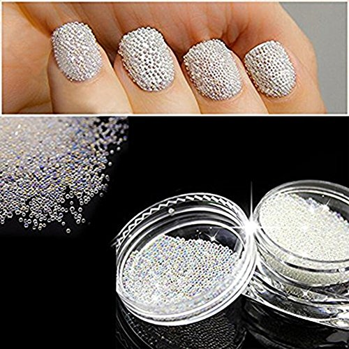 QIMYAR Nail Art Micro Rhinestone AB Crystal Glass Mini Beads Gardient Dazzling Caviar Beads 3D Nail Decoration 0.6mm Two Bottle (Wish Cell Phone Charm)