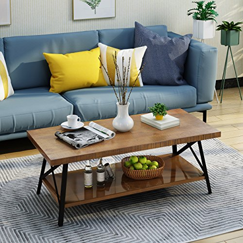 Cheap Belle Industrial Natural Finish Faux Wood Coffee Table