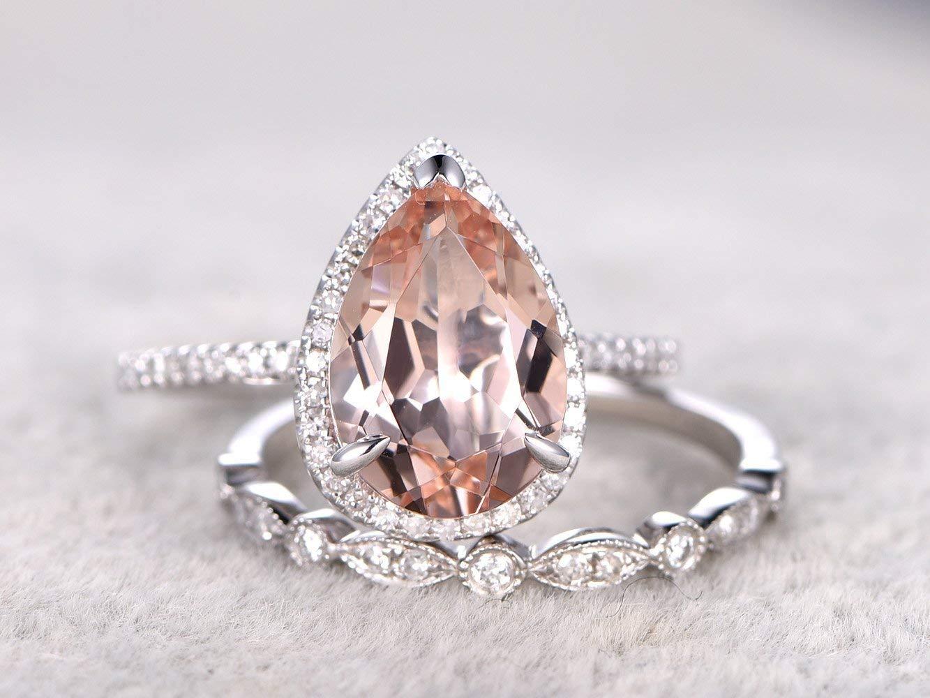 8x12mm Pear Shaped Cut Natural Peach Pink Morganite Gemstone Ring Set Diamond Halo Claw Rings,Half Eternity Diamonds 14k White Gold Marquise Milgrain Wedding Promise Matching Band Sets 61NgBm700GL._SL1333_