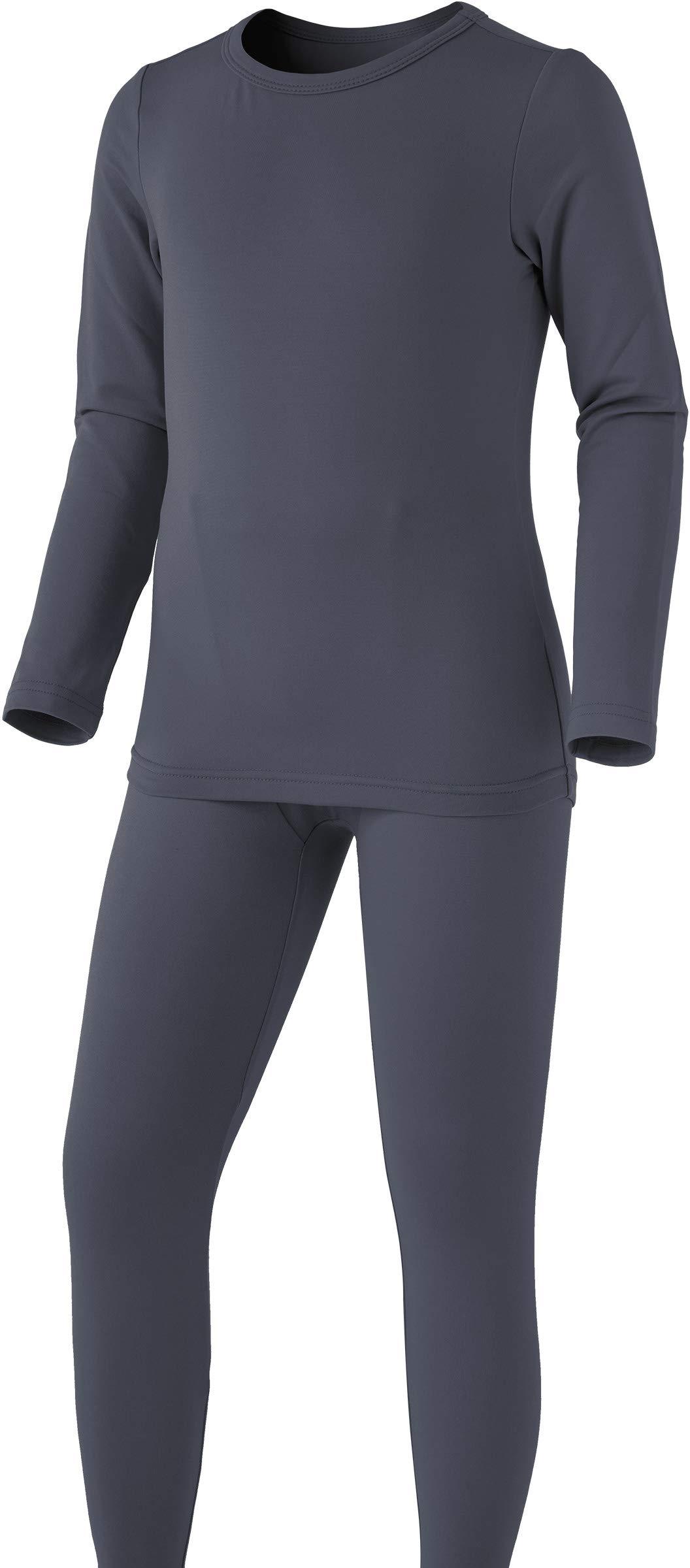 TSLA Boy's Microfiber Soft Fleece Lined Warm Thermal Top & Bottom Set, Boy Set(khs300) - Dark Grey, Small (Height 4ft2in - 4ft5in) by TSLA
