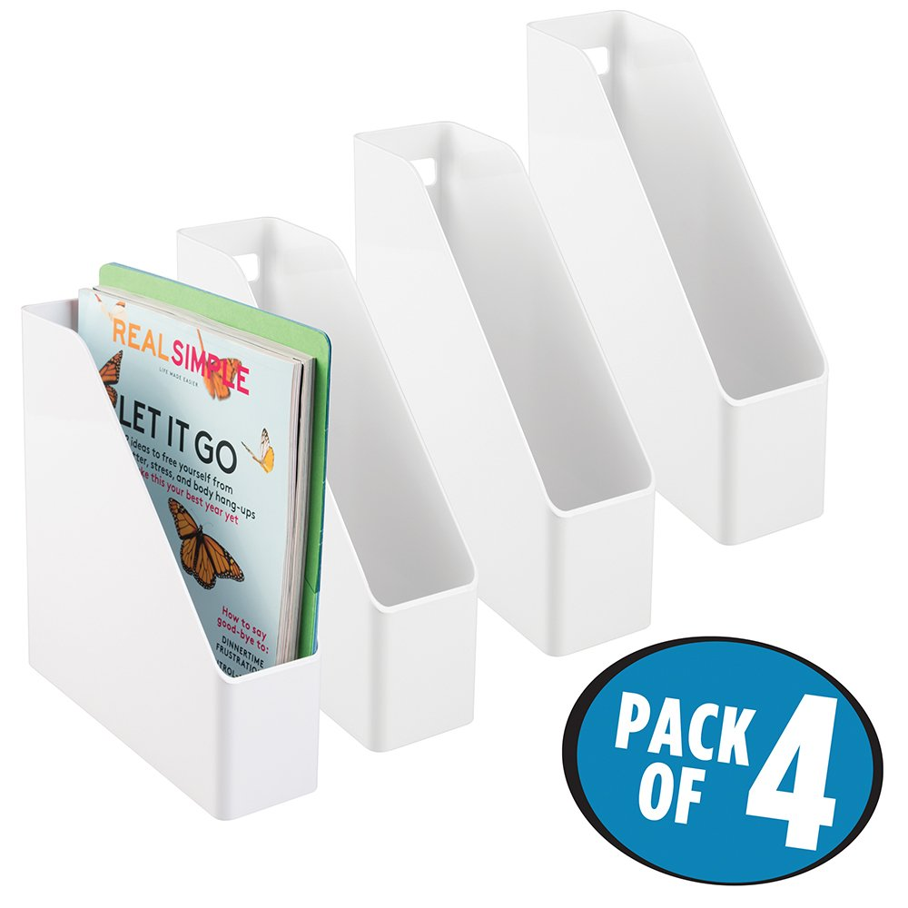 mDesign Office Supplies Desk Shelf Vertical Plastic Storage Holders Organizers for File Folders, Magazines, Notebooks - Pack of 4, White
