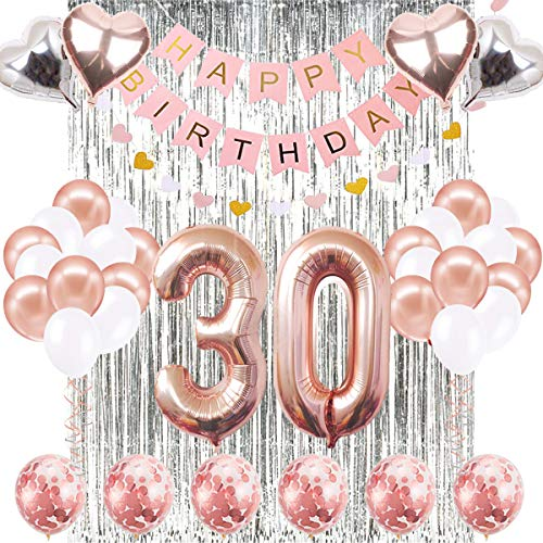 30th Birthday Decorations Banner Balloon, Happy Birthday Banner, 30th Rose Gold Number Balloons, Number 30 Birthday Balloons, 30 Years Old Birthday Decoration -
