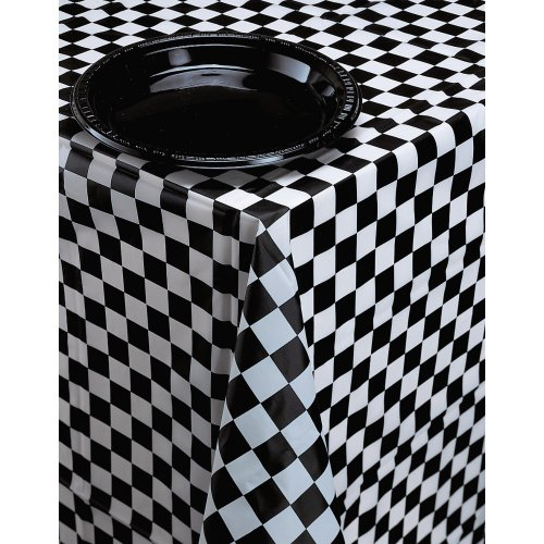 Creative Converting Plastic Banquet Table Cover, Black Check - 39197]()