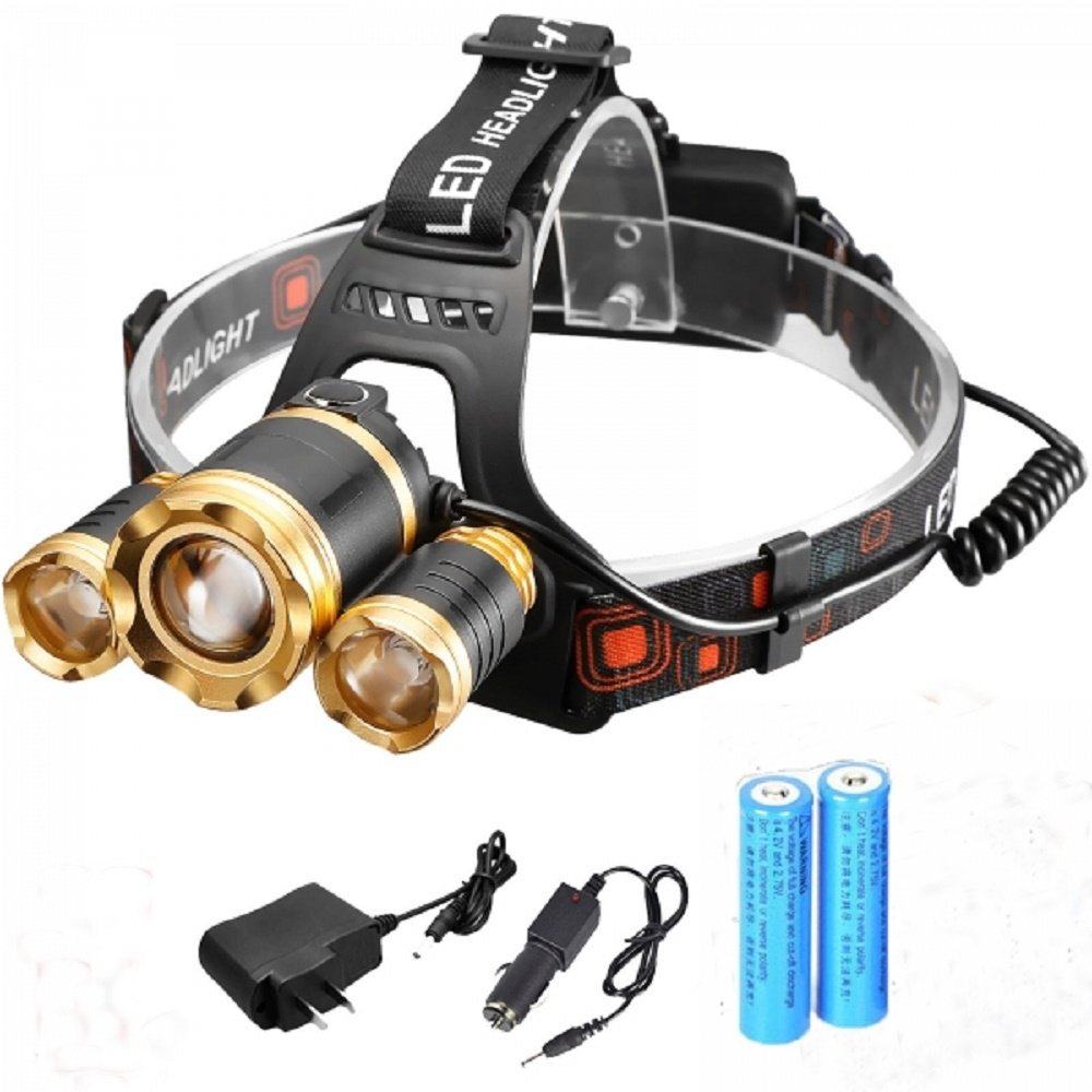 Svitlife New Style 3 xT6 1500LM Stretchable Focusing 90-Degree Adjustable Waterproof LED Headlamp for Outdoor Activities Black & Luxury Golden by Svitlife (Image #1)
