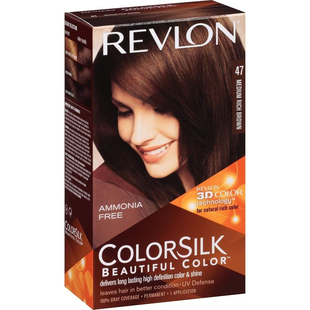 Revlon ColorSilk Hair Color [47], Medium Rich Brown 1 ea (Pack of 7)