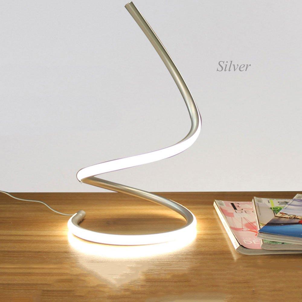 Wsxxn Post-modern Minimalist Aluminum Desk Lamp Curved Design Eye-protection Desk Lamp Living Room Bedroom LED Warm Light Lamp (Color : Silver)