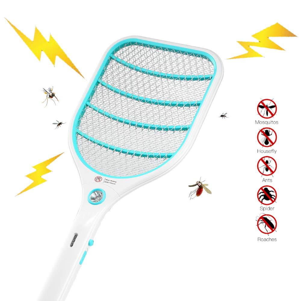 Blau Doppelte Schichten Mesh Schutz USB Wiederaufladbar 3000 Volt ZOMAKE Elektrische Fliegenklatsche Fliegenf/änger Moskito Zapper Insekten M/örder