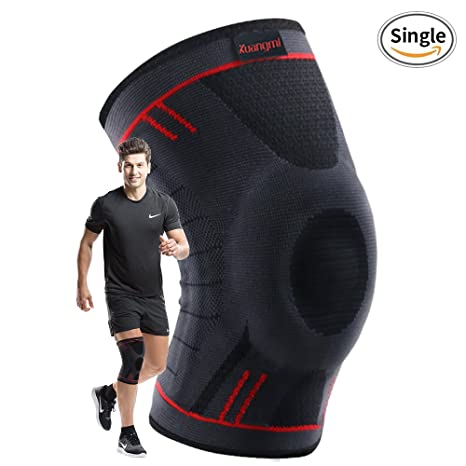 d09596d01a Kuangmi Knee Compression Sleeve Knee Brace Support for  Running,Basketball,Joint Pain Relief,ACL,PCL,Arthritis & Injury Recovery  Single Wrap(Upgrade Blue)