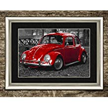 """VW VOLKSWAGEN BEETLE PRINT POSTER PICTURE VINTAGE CLASSIC CAR POSTER FRAMED ART PRINT PICTURE WALL ART DECOR 12""""X16"""" 30x40 CMS"""