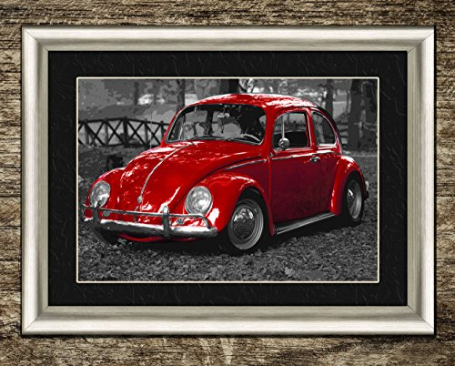 VW Volkswagen Decor Beetle Bug Wall Art Print Poster / Vintage Classic Car Print Poster Picture / Framed Wall Decoration 12 by16 inches