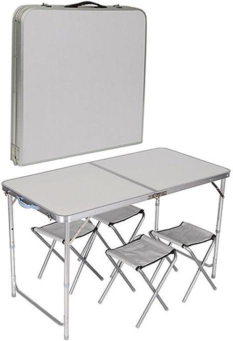 Juego de Mesa Plegable de 4 sillas de Cristales para Cocina, jardín, Interior, Exterior, Picnic, Camping, Color Blanco, Azul y Naranja, Blanco