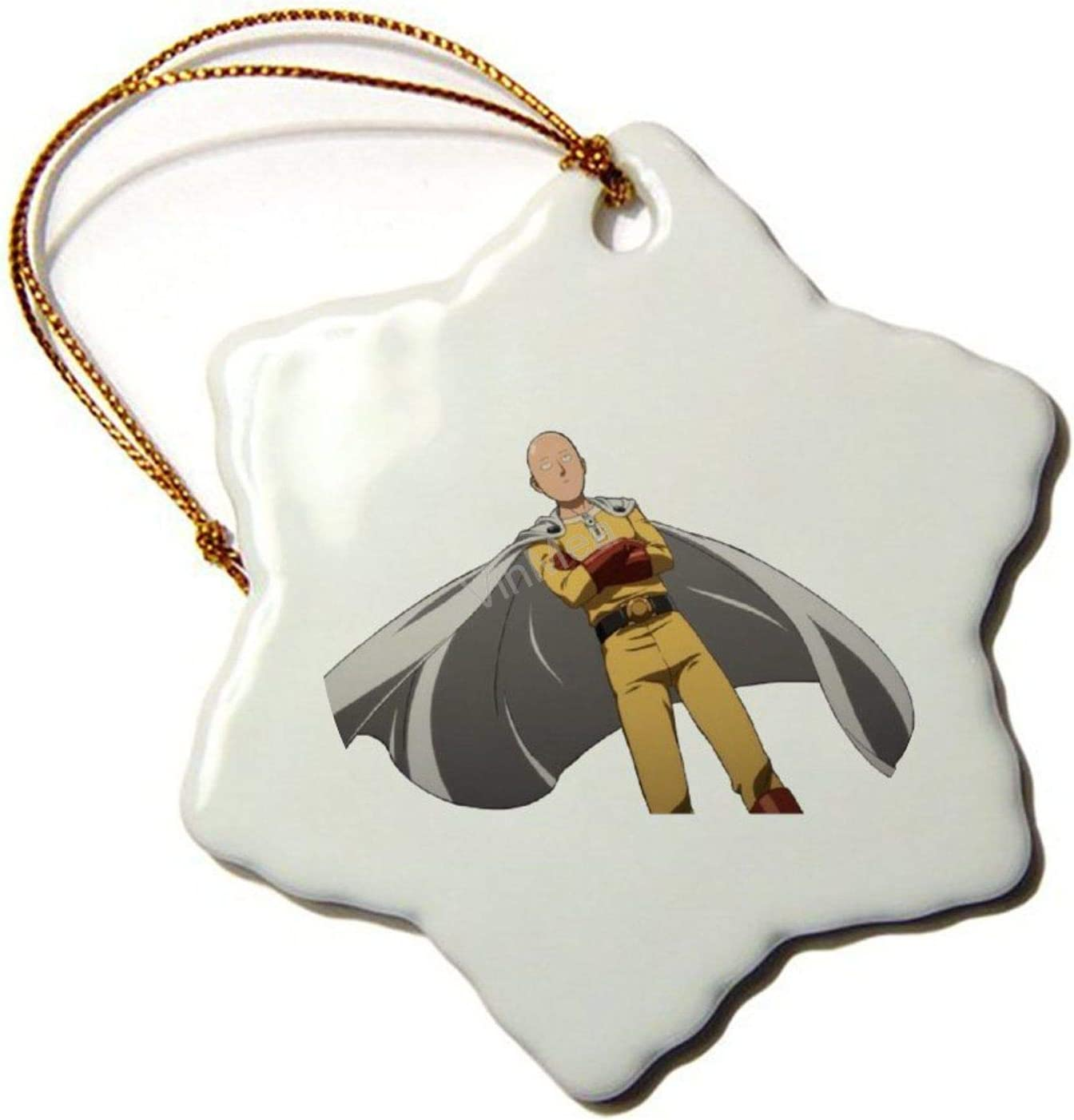 VinMea Ceramic Ornament One Punch Man Hexagon Christmas Ornaments Holiday Season Home Decor Xmas Gift